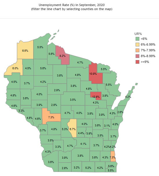 WI Unemployment Rate by County 09-2020